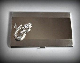 Mermaid  business card holder-credit card holder-stainless steel card holder-gothic card holder-steampunk card holder