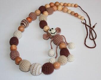 SALE Nursing necklace for slinging mom with monkey brown