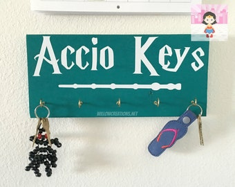 Accio Keys - Hand Painted - Key Holder - Key Ring - Geek Gift - Entry Way Decor