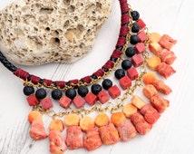 Orange Red Boho Necklace-Beaded Leather Choker Necklace-Sponge Coral Necklace-Crystal Gemstone Necklace-Statement Chunky Hippi  Necklace