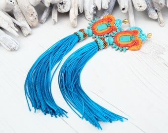 Long Turquoise Orange Soutache Earrings-Tassel Earrings-Statement Turquoise Earrings-Extra Long Boho Hippie Earrings-Beaded Dangle Earrings