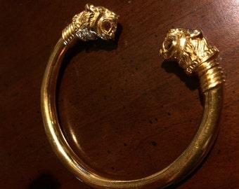 Vintage MMA Gold Roaring Lion Head Bangle Bracelet - Scythian Achaemenian - Metropolitan Museum of Art