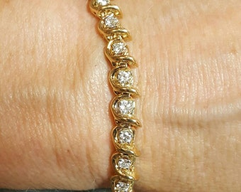 14K Yellow Gold Diamond Bracelet.  Free U.S. Shipping. International Charges May Vary.