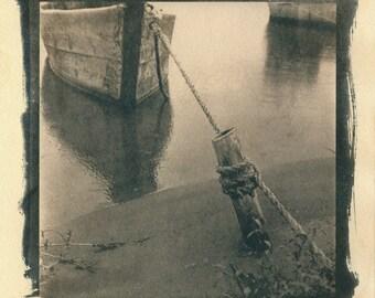 Cyanotype blue print - Boat, Boat photo, Boat photography, Fishing boat photo, Lake photo