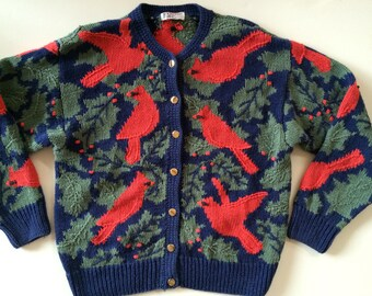Orvis Christmas Sweater w Red Cardinals!  Charming Navy w Green Holly w Red Birds & Berries - Holiday Cardigan Sweater
