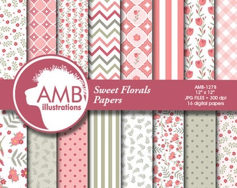 Floral Digital Papers, Shabby chic papers, wedding paper, Floral papers, colors, floral scrapbook papers, commercial use, AMB-1278