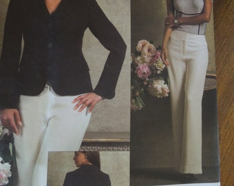 Anne Klein, Vogue V2957, UNCUT sewing pattern, craft supplies, misses, womens, sizes 14-20, lined jacket, pants