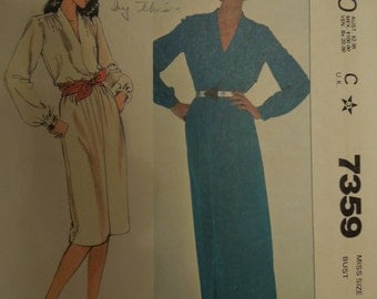 McCalls 7359, size 8, dress, UNCUT sewing pattern, craft supplies, pullover dress, womens, misses,