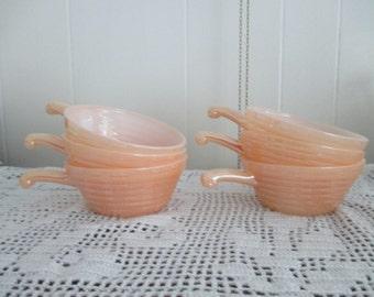 like New 6 Vintage Fireking peach lustre Bowl gold