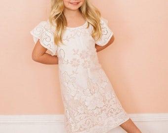Flower Girl Dress, jr bridesmaid dress, boho flower girl dress, bohemian wedding dress, boho wedding dress, crochet lace dress