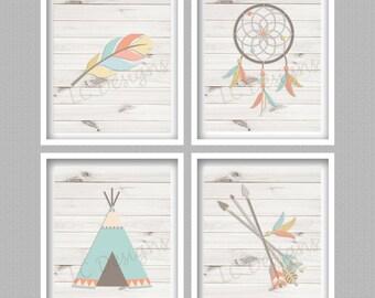 Bohemian Nursery Art Prints Digital - Set of 4 - 8x10 - INSTANT DOWNLOAD - Boho, Teepee, Dreamcatcher, Feather, Arrows, Nursery