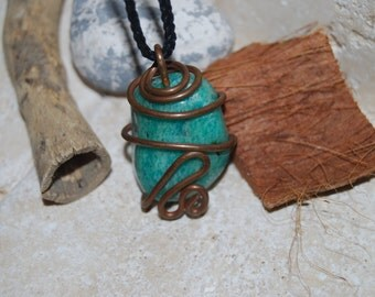 Copper Wire Wrapped Turquoise Stone Necklace
