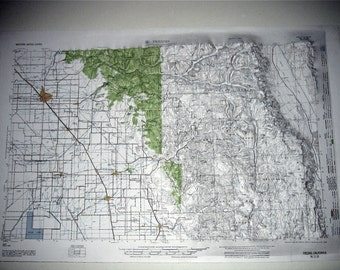 Vintage Elevation Map of Fresno California 1958