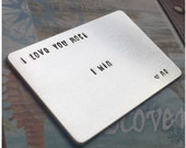 Aluminum Wallet Card - Metal Wallet Insert - Personalized Credit Card Size Insert - Custom Font - Fun Font - Hand Stamped Card with Message