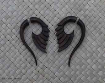 Fake Gauge Wood, Sono Wood Fake Piercing, Tribal Fake Gauge Earrings