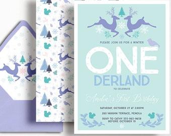 Winter ONEderland 1st Birthday Invitation Girls Flowers Wonderland Snowflake Deer Squirrel Snow Purple Blue Mint Aqua Lilac Printable First