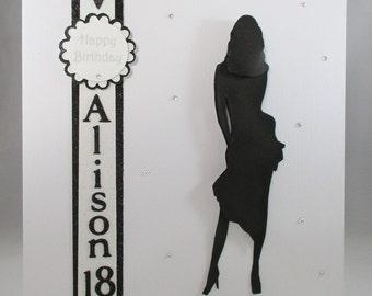 Silhouette 3D 18th,21st Birthday Card,handmade, personalise