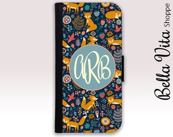 Monogram iPhone 6 Wallet Case, iPhone Wallet Case, iPhone Wallet Leather, iPhone 6S Wallet Case, Monogrammed iPhone Case Fox Flowers I6W I6S