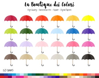 50 Rainbow Umbrella Clip art, Colorful Digital illustrations PNG, rain spring parasol Clipart, Planner Stickers Commercial Use