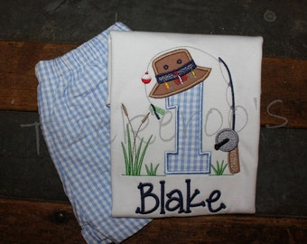 Fishing Themed Appliqued Birthday Shirt and shorts set