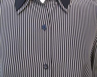 Viyella Black Striped Blouse Size UK12 US10 1980s