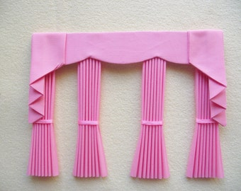 Miniature doll house plain curtains drapes with scalloped pelmet  and tie backs bay window pink
