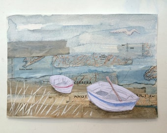 Two boats - original art, mixed media painting