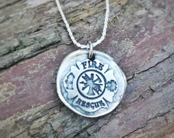 Fire and Rescue - fine silver wax seal pendant - Firefighter, maltese cross