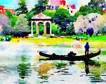 Gondolier on Lake Merritt Watercolor Print