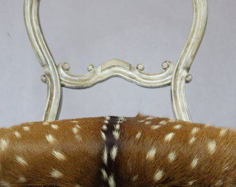 Sold Can Replicate- Pearlized Axis Deer Distressed Antique Balloon Back French Victorian Chair with Polished Silver nails