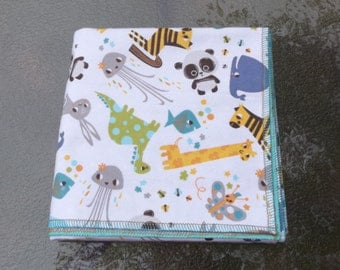 Ocean and Jungle Animals Flannel Receiving or Swaddling Blanket, Double Layer, 2 Layer Serged Blanket, Crib or Stroller Blanket