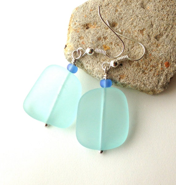 Beach Glass Earrings, Pale Aqua, Beach Jewelry, Sea Foam Blue