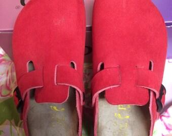 Vintage Birkenstock Red Silky Suede Mules Papillio 37 Boho Bohemian Hip
