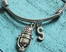 3D microphone bracelet, personalized bracelet, gift for music lover, retro microphone bangle bracelet, silver charm bracelet, love singing