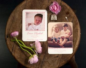 Digitally Printed Birth Announcement | Photo Birth Announcement | Adoption Announcement | Photo Adoption Announcement | SMALL Announcement