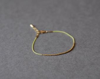 Gold Beaded Neon Yellow Bracelet
