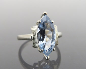 Vintage 1940s 10K Solid White Gold 3.12ct Blue Spinel Ring Size 6.5