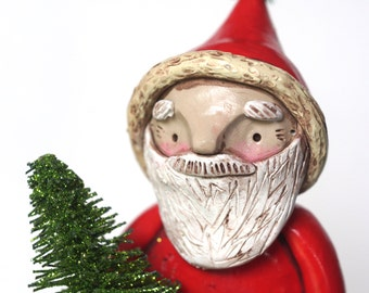 Woodland Santa Christmas Decoration Folk Art Doll Sculpture