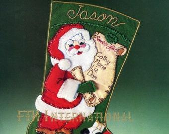 "Bucilla A List for Santa ~ 18"" Felt Christmas Stocking Kit #82251 Vintage Santa DIY"