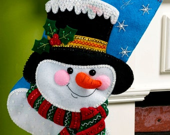 "Jack Frost  Bucilla 18"" Felt Christmas Stocking Kit #86649 DIY"