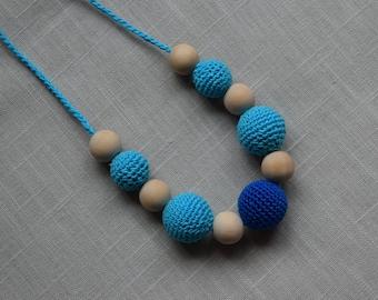 Sling necklace - Crochet Nursing Necklace - Breastfeeding Necklace - Teething necklace with crochet beads