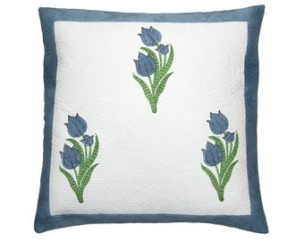 Blue Tulips - Block Printed Cushion Cover