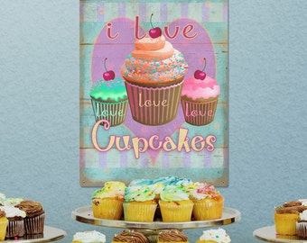 I Love Cupcakes Pink Distressed Kitchen Metal Sign - #34508