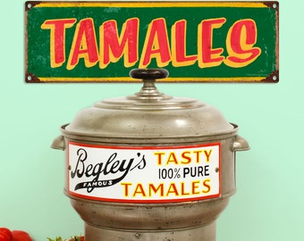 Tamales Mexican Restaurant Wide Metal Sign - #60647