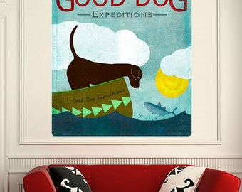 Good Dog Expeditions Boat Chocolate Lab Wall Decal - #59746