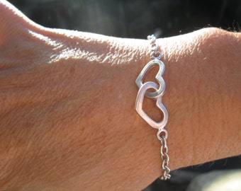 Sterling Silver Double Hearts Chain Bracelet