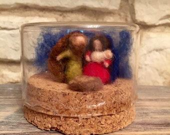 Glass globe with cork, very light with Waldorf Nativity