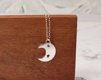 Crescent moon necklace, stocking filler, sterling silver dainty jewelry, big pendant, celestial jewelry, Christmas gift, daughter birthday