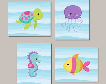 Girl Nursery WALL ART Sea Life Sea Animals Under The Sea Nursery Decor Sea  Animals Bathroom