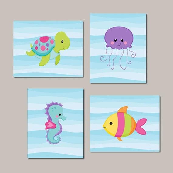 Ocean Wall Decor For Nursery : Girl nursery wall art sea life animals under the